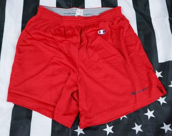 Vintage 90s Champion Perforated Gym Shorts Size L (36W-38W) Drawstring Athletic Spellout