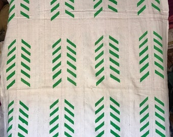 White and green print Mudcloth