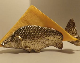 Reserved for Nicola paperweight brass fish card/letter holder