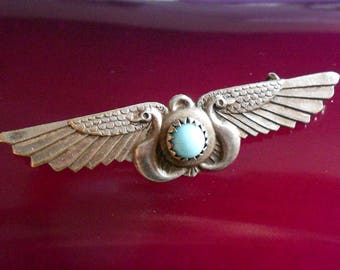 Vintage Egyptian Revival Brooch, Winged Birds, Turquoise Stone, C Clasp, Silver Plated, 1920s