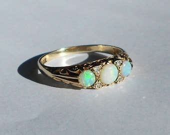 9ct Gold & Fire Opal Trilogy Ring With Diamonds, Fully Hallmarked Three Stone Ring With Ornate Band