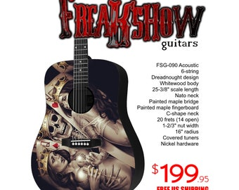 Graphic Acoustic Guitar ACE Design by FreakshowGuitars - FREE SHIPPING