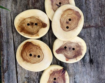 Large Poplar Wood Buttons // Handmade Wood Buttons // Set of 6 // Wooden Buttons // Sewing and Notions // Rustic Buttons