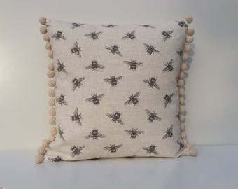 Bumble Bees Cushion Cover with pom poms, grey bees in cream, cream pom poms, 41cm x 41cm