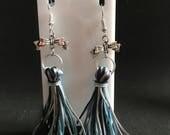 Tassel Earrings, Cheerleader Earrings, Custom Order, Bow Charms, Blue Black and Silver Tassels, Cheer, Go Team