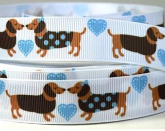 "Dachshund Grosgrain 7/8"" Printed Ribbon, Dog Ribbon"