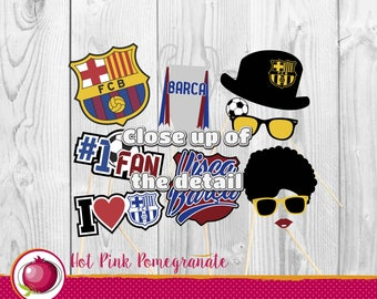 FC Barcelona Barca Cardstock Party Photo Booth Props For Birthdays. Barcelona Birthday