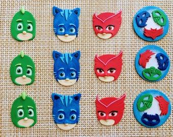 PJ Masks Fondant Cupcake Toppers