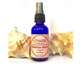 Holiday Spice Pure Essential Oil Aromatherapy Room & Body Spray Nutmeg, Clove, Cinnamon, Sweet Orange Organic Christmas Scent Holidays