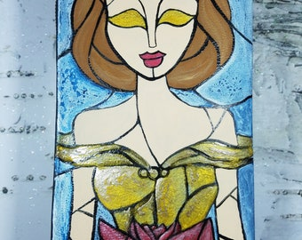 Beauty and the Beast hand painted stained glass wallet