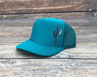 Cactus trucker hat, mom hat, trucker hat, mama hat, teal trucker hat, olive hat, green hat, olive trucker hat