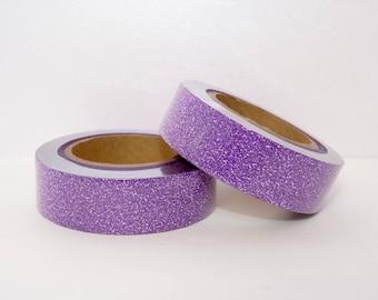 Masking Tape Washi Tape with purple Glitter - glitter