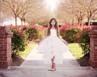 Junior Bridesmaid Dress, Flower Girl Dresses, Princess Dress, Girls Maxi Dress, Girls Boho Dress, Shabby Chic, Ruffle Dress