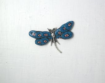 Dragonfly connector 3 polymer clay and silver plated Dragonfly PENDANT