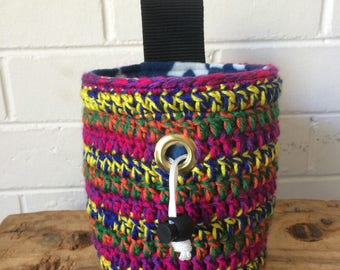 Handmade colourful crochet Circus Striped Chalk Bag for rock climbing and bouldering, unique sewn gift for climber