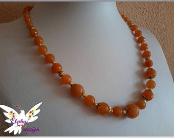Precious gold and bronze plated orange aventurine necklace combines