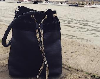 Black leather strap bag