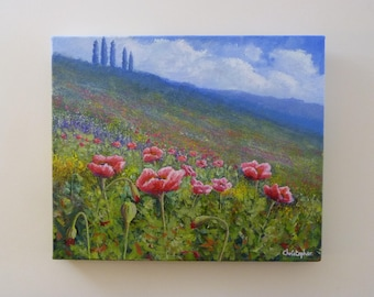 Original poppy painting 'Hillside poppies' – Acrylic, 30cm x 25cm, wild flowers artwork, crimson poppies in a hilly landscape.