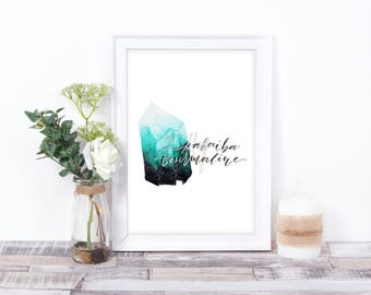 Watercolour Paraiba Tourmaline with Modern Calligraphy - Teal Turquoise Gemstone Crystal Digital Print Instant Download