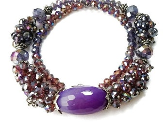 Amethyst Faceted Agate & Swarovski Crystal Beaded Jewelry Set