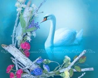 Inner Grace by Leanne Peters - Swan Art - Spring Art - Fantasy Art