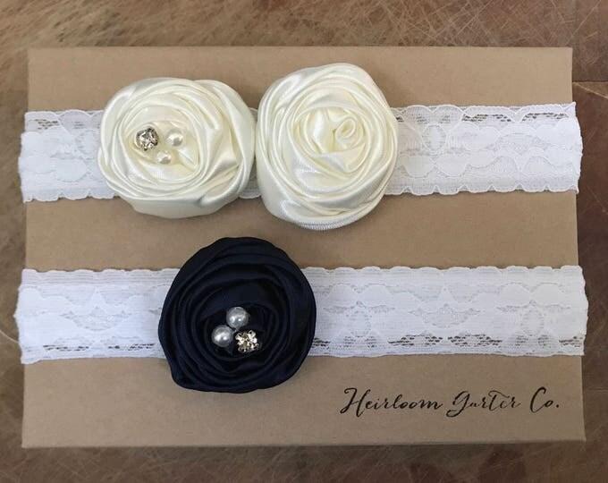 Wedding Garter Set, floral satin bridal garter set