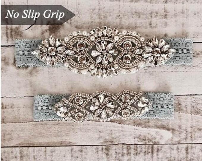 Pearl Bridal Garter, NO SLIP Lace Wedding Garter Set, bridal garter set, vintage rhinestones, pearl and rhinestone garter set