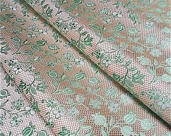 Amazon fabric - Fabric 100% silk - silk - green fabric - fabric flowers - fabric Verel de Belval - editor fabric - Robert fabrics - 1/2 meter