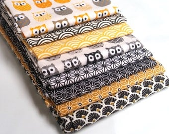 Fat Quarter yellow black white - OWL fabric - fabric Japanese sushi: seigaiha - fabric Saki 8 coupons star Asanoha - tissue paper fans