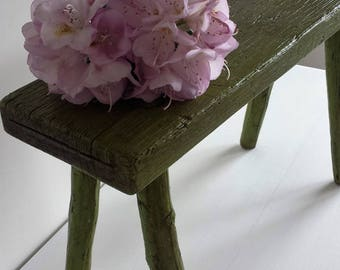 European Rustic Wooden Painted Stool
