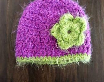 Purple and Green Flower Beanie: Winter Beanie, Flower Hat, Crocheted Hat, Pink Hat, Girls Flower Hat