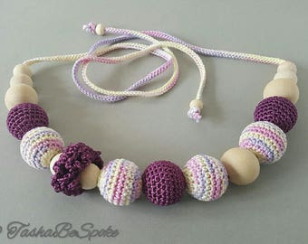 Teething necklace Nursing necklace Crochet jewellery for new mum Sling accessory Breastfeeding necklace Shower gift Baby toy