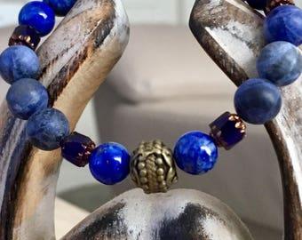 Adjustable bracelet, Silver 925 and semi precious stones.