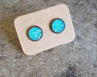 Aqua Druzy Earrings, Turquoise Faux Druzy Earrings, Gun Metal Earrings, Druzy Studs, Trendy Earrings, sparkle Studs, Faux Druzy, mothers day