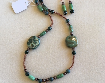 Green and Copper Necklace Set
