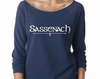 Sassenach Women's Longsleeve Raglan, Jamie Fraser, Claire Beauchamp, Lallybroch, Highlander, Scotland, Craigh Na Dun