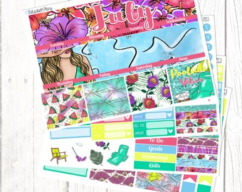 July Monthly Kit | Summer, Poolside, Vacation, Planner Stickers