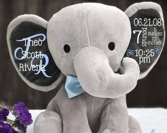 Birth announcement, stuffed animal, memory bear, elephant, newborn present, newborn gift, baby shower, baby gift, baby present, baby boy