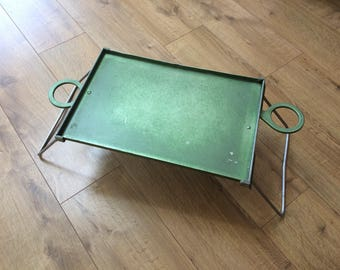 Vintage Green Aluminium Metal Folding Tray Table with Cup Holders - for camping, picnics, bed!