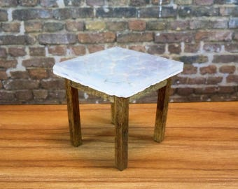 Dollhouse miniature furniture in twelfth scale or 1:12 scale.  Glass/Marble top table.  Item #369.