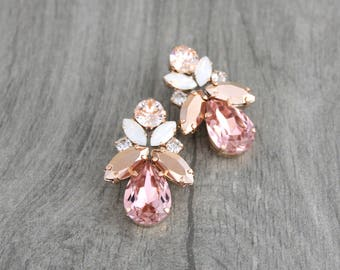 Rose gold earrings, Bridal earrings, Crystal earrings, Bridal jewelry, Wedding earrings, Swarovski earrings, Opal earrings, Blush crystal