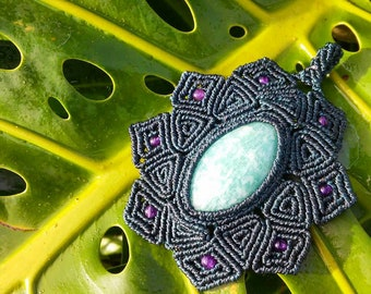 Amazonite Macrame Pendant with Amethyst Beads