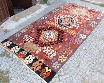 Turkish Kilim rug, Bohemian Rug, vintage rug, turkish Kilim, Turkish Rug, handwoven rugs, vintage kilim rug, Small Kilim Rug, Rugs 5x10