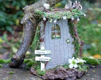 Festive Elf Door - Miniature Decoration, Christmas Gift, Xmas Decor, Fairy Miniatures, Faerie Door, Gift for Him, OOAK, Unique, Fairy Door