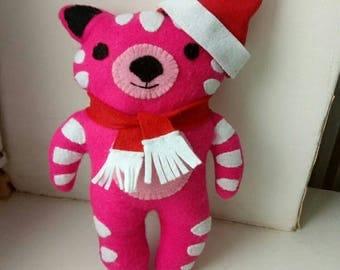 Felt toys Christmas Pink Teddy Tiger Toy -  Felt Ornaments - Cuddly felt toys - Pink Soft Toy - Yellow Soft Toy