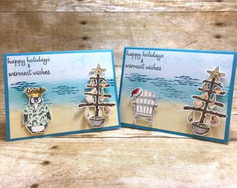 Warmest wishes beachy holiday Christmas 10-card set