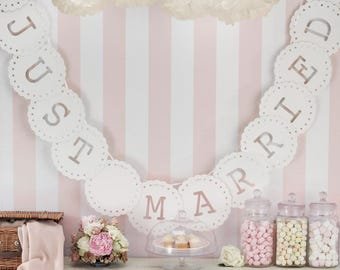 Just Married Bunting - Ivory or White - Vintage Lace