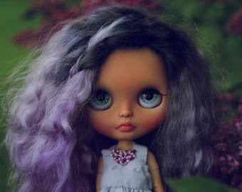 Weekend SALE!!! Lila• ooak custom fake Blythe doll wefted mohair hair