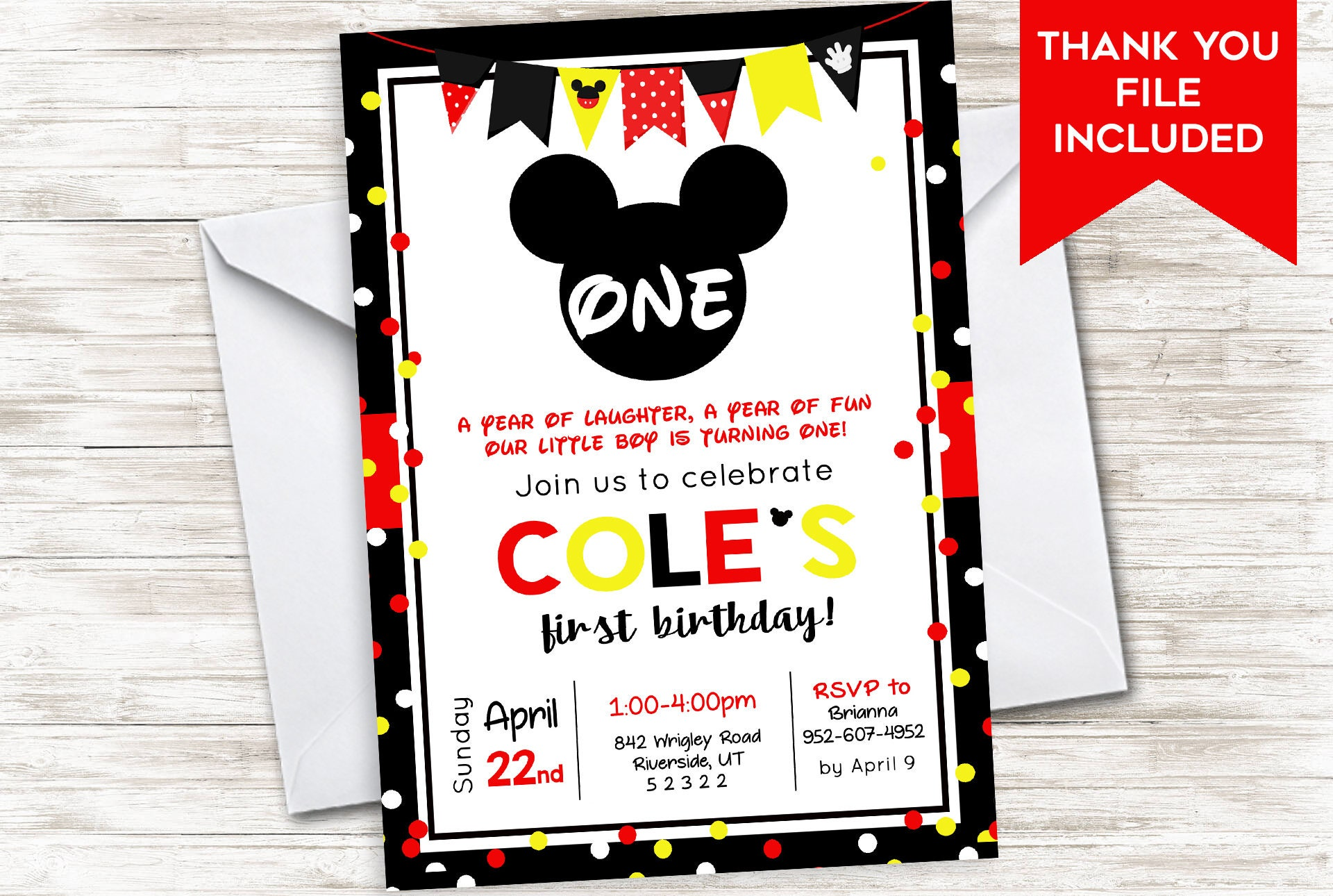Mickey First Birthday Invitation Invite Mouse 5x7 Digital Red Yellow