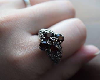 Vintage Sterling Silver Medieval Style Bohemian Garnet Filigree Ring